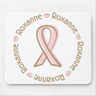 Pink Ribbon Breast Cancer Name Roxanne Mouse Pad