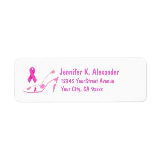 Pink Ribbon Breast Cancer Shoe Return Address Label