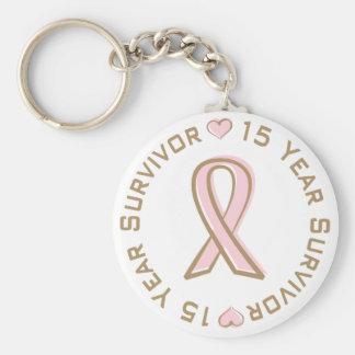 Pink Ribbon Breast Cancer Survivor 15 Years Basic Round Button Keychain