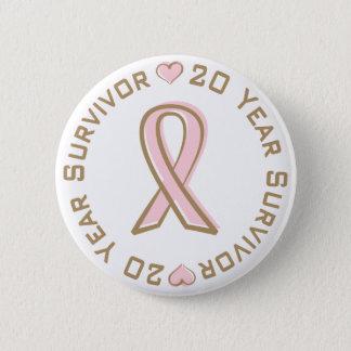 Pink Ribbon Breast Cancer Survivor 20 Years 2 Inch Round Button