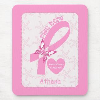 Pink Ribbon Breast cancer survivor & pink border Mouse Pad