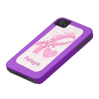 Pink Ribbon Breast cancer survivor purple custom iPhone 4 Cover