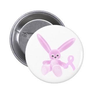 Pink Ribbon Bunny Pinback Buttons