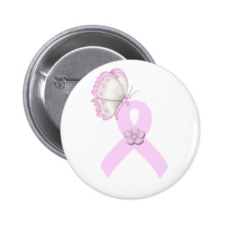 Pink Ribbon Butterfly 2 Inch Round Button