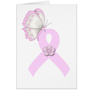 Pink Ribbon Butterfly Card