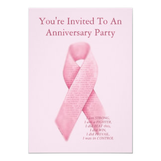 Pink Ribbon Cancer Free Anniversary Invitation