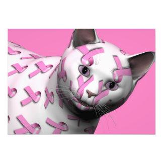 Pink Ribbon Cat Art Photo