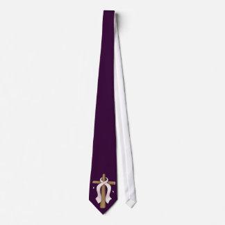 Pink Ribbon Christian Cross Design Tie