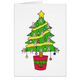 Pink ribbon Christmas tree. Card