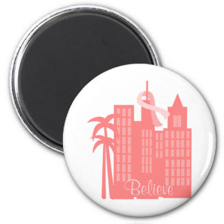 Pink Ribbon Cityscape 2 Inch Round Magnet