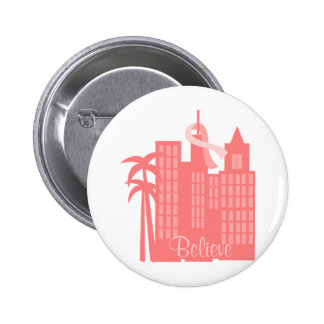 Pink Ribbon Cityscape Pinback Buttons