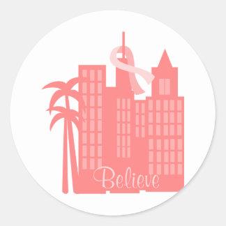 Pink Ribbon Cityscape Round Sticker