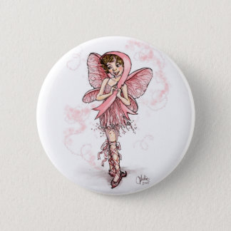 Pink Ribbon Fairy 2 Inch Round Button