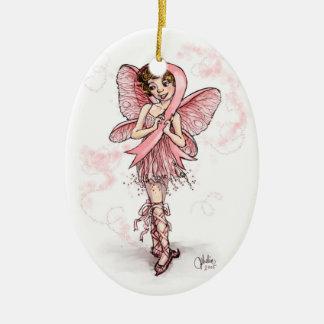 Pink Ribbon Fairy Ceramic Ornament