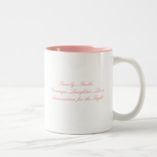 Pink Ribbon, Family...Faith..Courage...Laughter... Two-Tone Coffee Mug