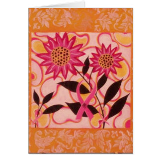 Pink Ribbon & Flowers: Thinking of You Card