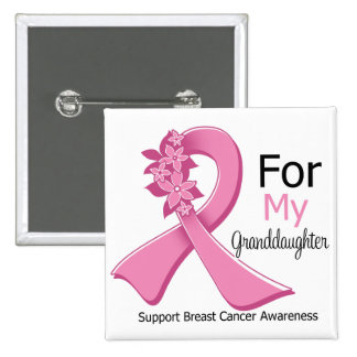 Pink Ribbon For My Granddaughter - Breast Cancer Button