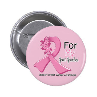 Pink Ribbon For My Great-Grandma - Breast Cancer Pinback Buttons