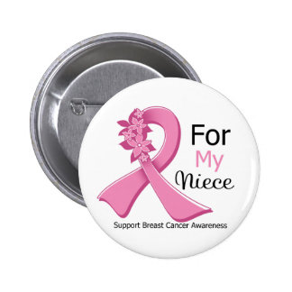 Pink Ribbon For My Niece - Breast Cancer Button