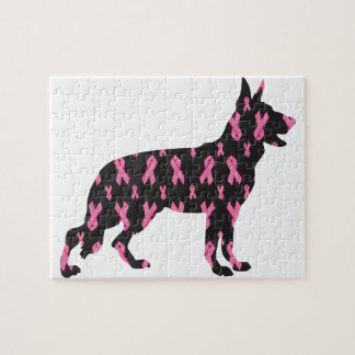 Pink Ribbon German Shepherd Jigsaw Puzzle