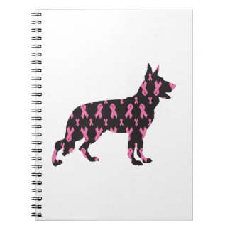 Pink Ribbon German Shepherd Spiral Notebooks