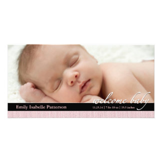 Pink Ribbon Girl Baby Birth Announcement Photocard Card