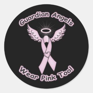 Pink Ribbon Guardian Angel Round Sticker