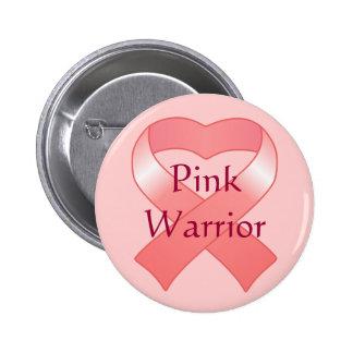 Pink Ribbon Heart Button