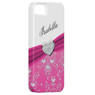 Pink Ribbon Heart Damask iPhone 5 Case