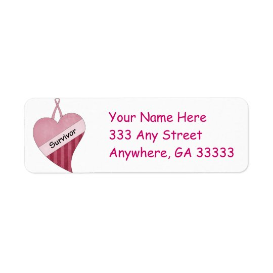 Pink ribbon & heart return address labels