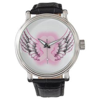 Pink Ribbon Heart Wings Watch/black Watch