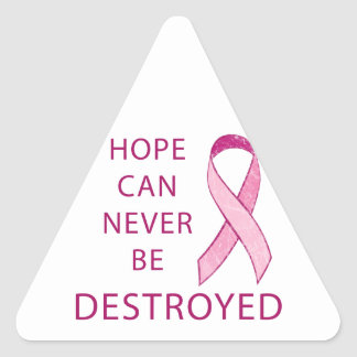 Pink Ribbon: Hope can never be destroyed Triangle Sticker