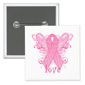 Pink Ribbon Love Wings 2 Inch Square Button