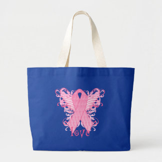 Pink Ribbon Love Wings Large Tote Bag