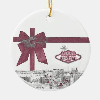 PINK Ribbon Merry Christmas from Las Vegas Ornamen Ceramic Ornament