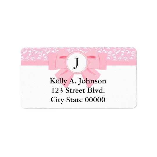 Pink Ribbon Monogram with Floral Print Label