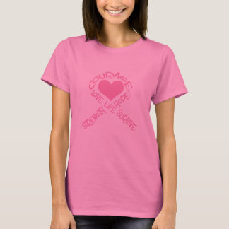 Pink Ribbon of Words Breast Cancer Long Sleeve T-Shirt