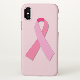 Pink Ribbon on Pink iPhone X Case