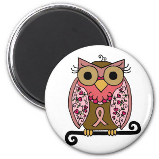 Pink Ribbon Owl 2 Inch Round Magnet