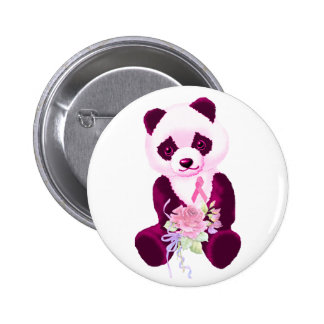 Pink Ribbon Panda Bear 2 Inch Round Button
