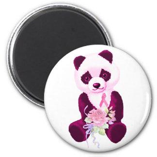 Pink Ribbon Panda Bear 2 Inch Round Magnet