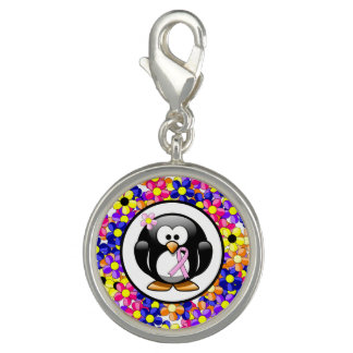 Pink Ribbon Penguin Photo Charms