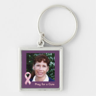 Pink Ribbon Photo Pray for Cure Keychain