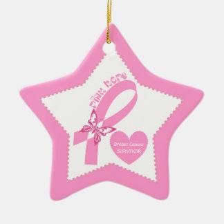 Pink Ribbon Pink Hope Breast cancer awareness Ceramic Star Ornament