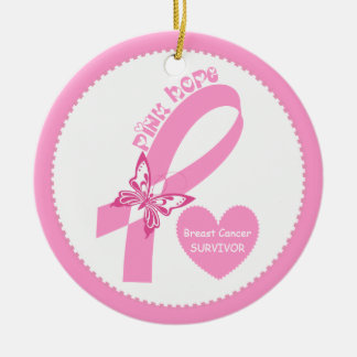 Pink Ribbon Pink Hope Breast cancer awareness Christmas Tree Ornaments