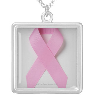 Pink ribbon silver plated necklace