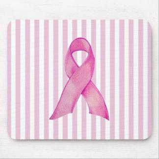 Pink Ribbon stripes Mousepad