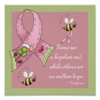 Pink Ribbon Sunny Hopeful Day Custom Print