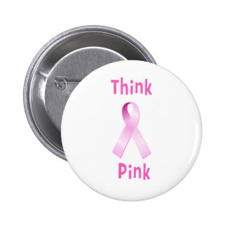Pink Ribbon - Thnk Pink 2 Inch Round Button