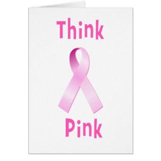 Pink Ribbon - Thnk Pink Greeting Card